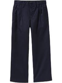 Boys Pleated Twill Pants - Uniform Blue