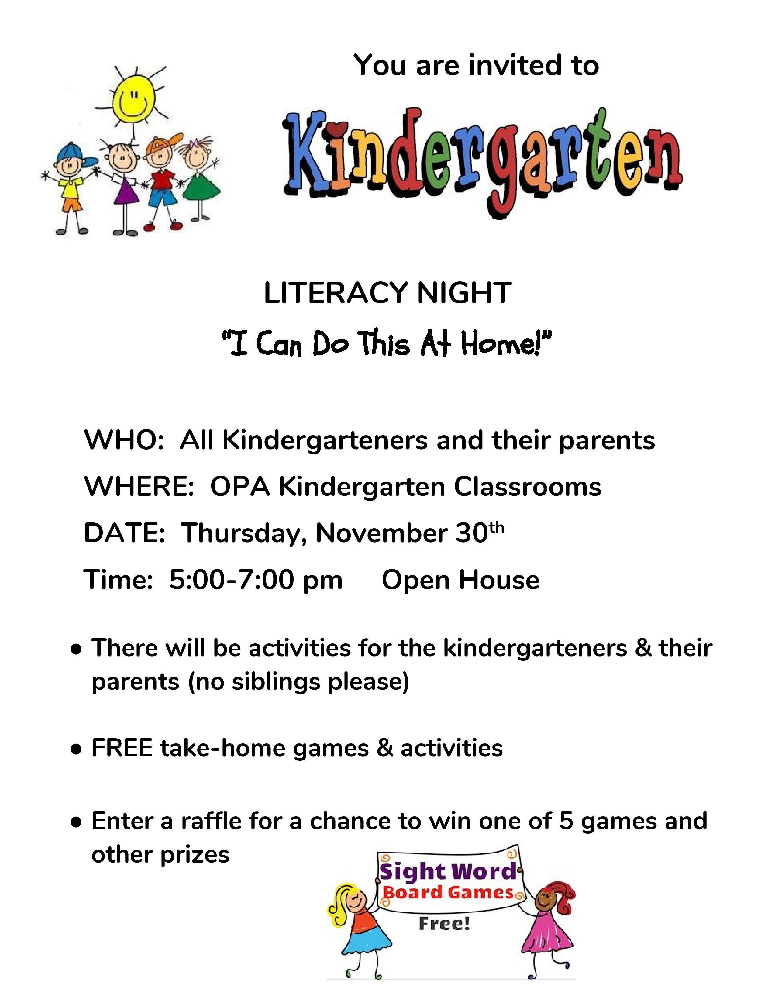 Kindergarten Literacy Night Ogden Preparatory Academy