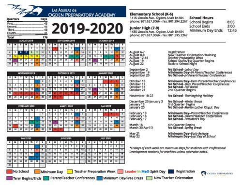 2019-2020 OPA School Calendar Updated